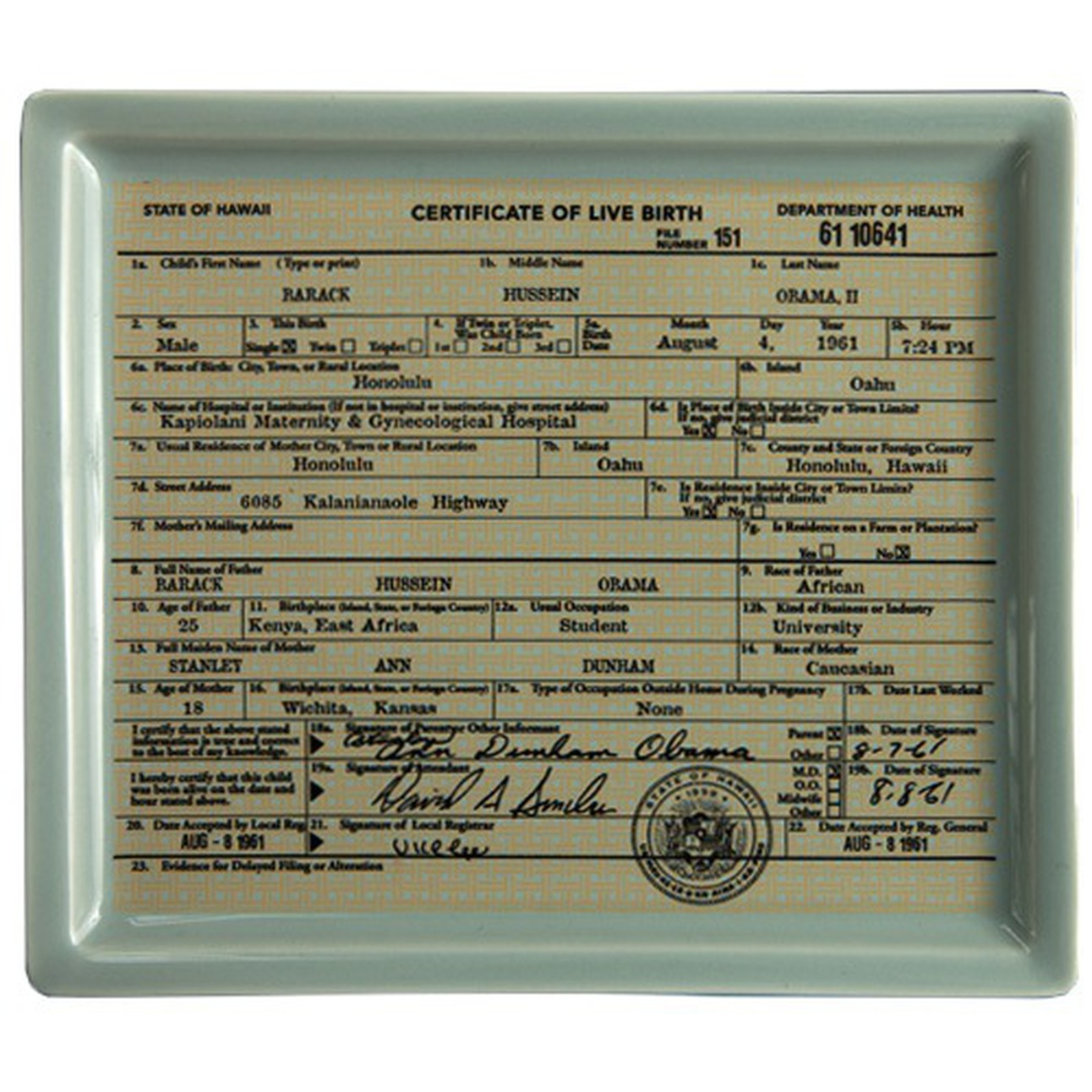 Barack Obama Birth Certificate Tray Plate