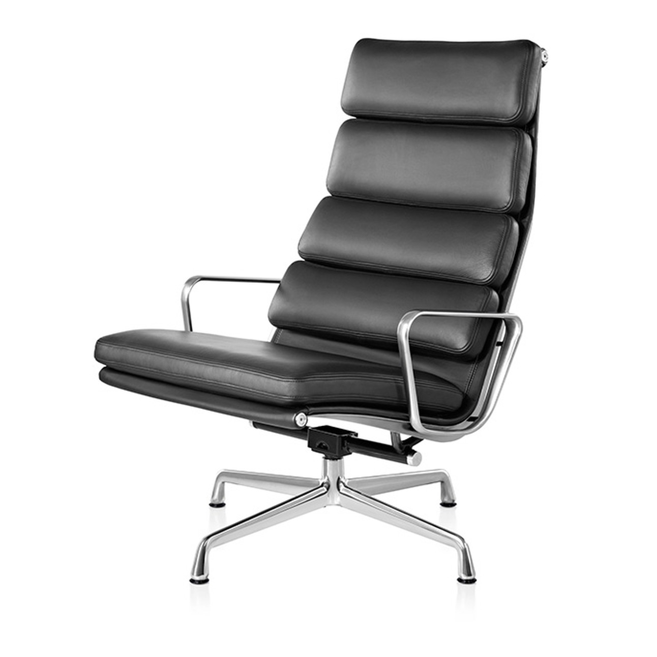 Eames Aluminum Group Soft Pad Lounge Chair Graphite Leather
