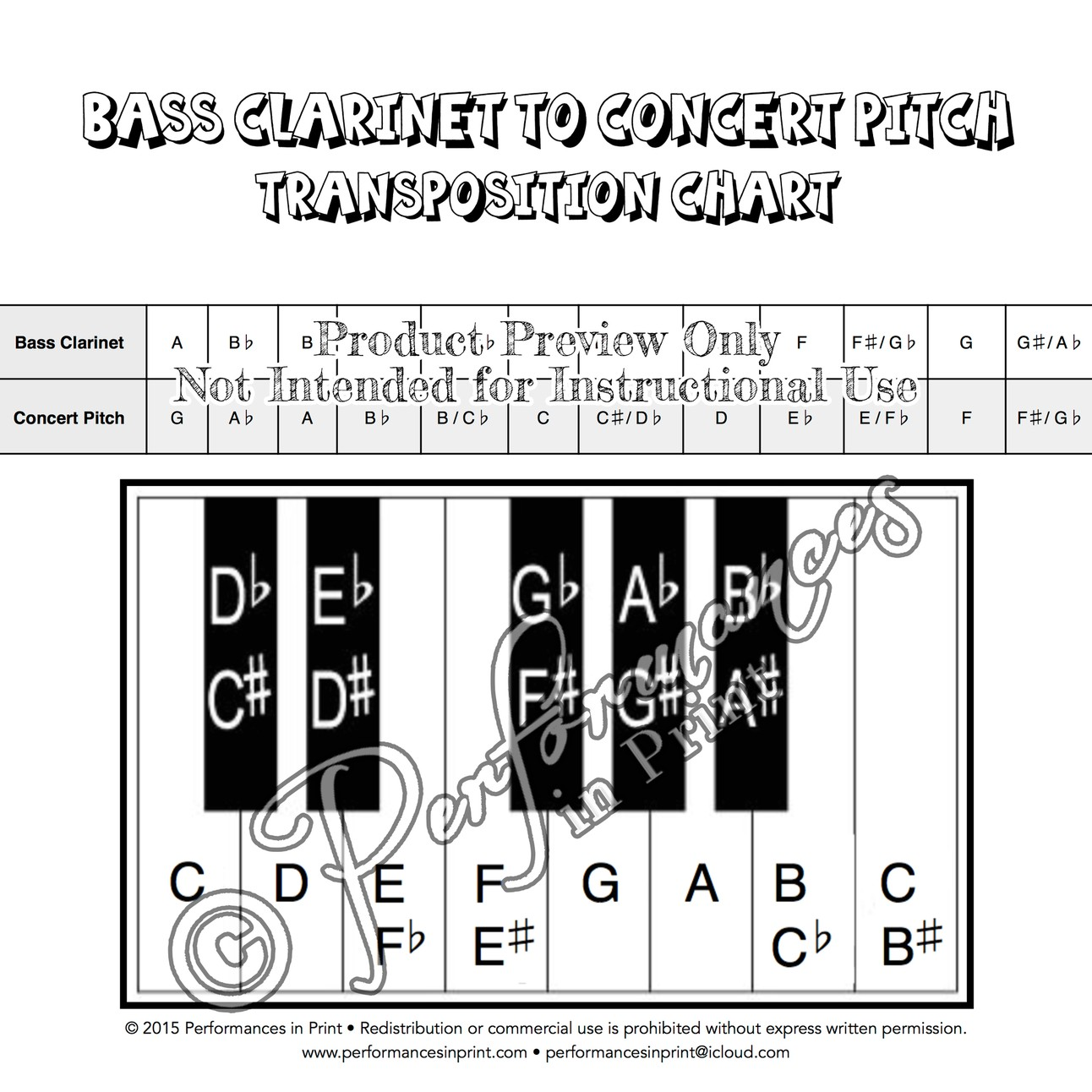 Bass Clarinet - Concert Pitch Transposition Chart
