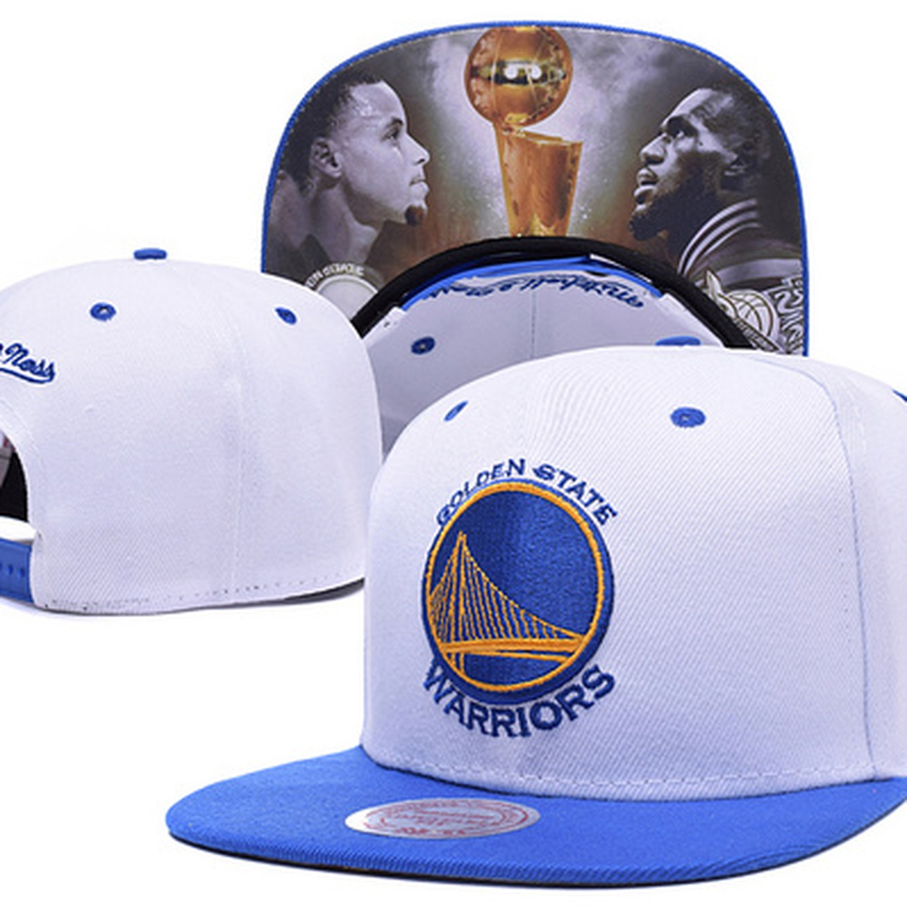4aec36e4833 New Golden State Warriors 2015 Finals Curry Lebron White Hat Cap Snapback  Adjustable