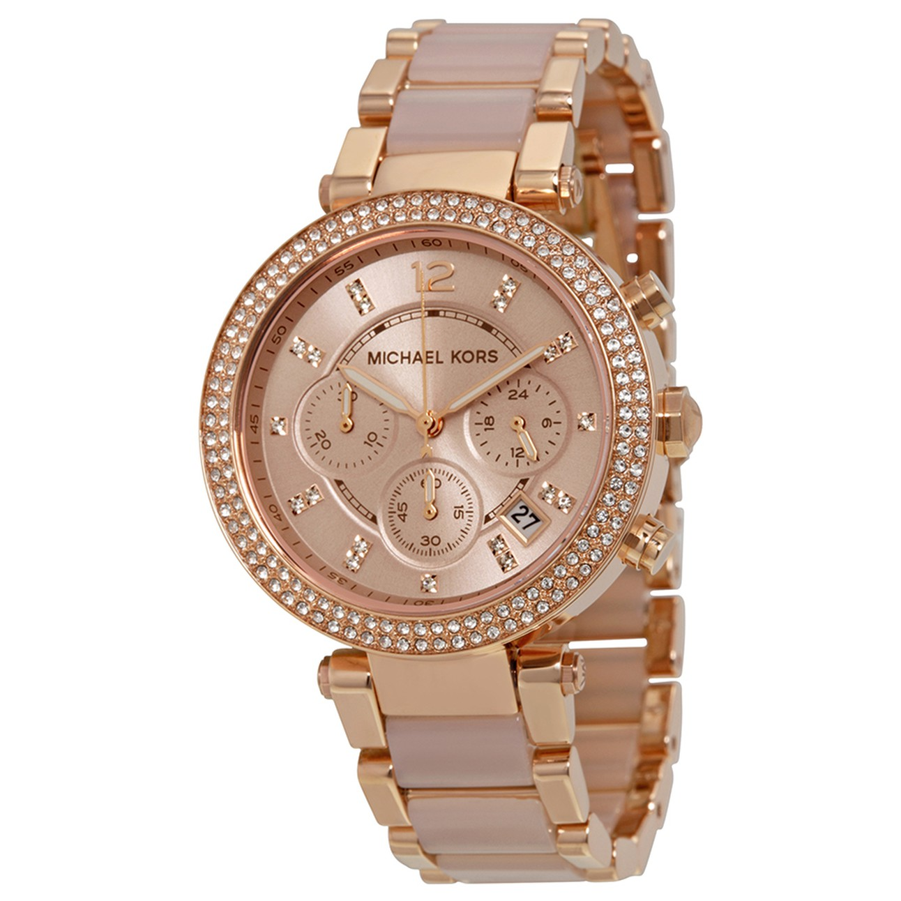 be82bea24af5 MICHAEL KORS Parker Blush Dial Rose Gold-tone and Blush Acetate Ladies Watch