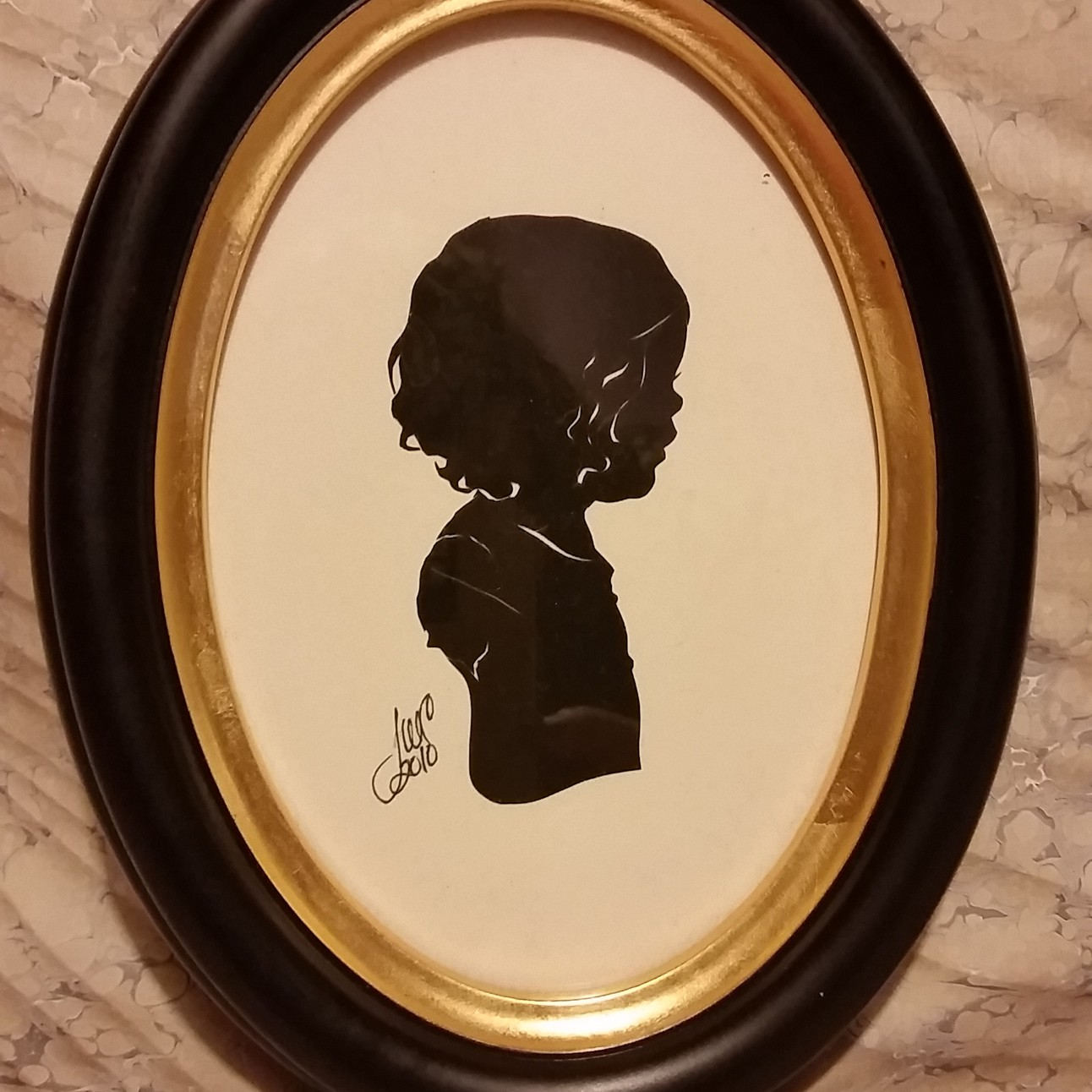 5x7 All Wood Black Oval Frame With Gold Trim