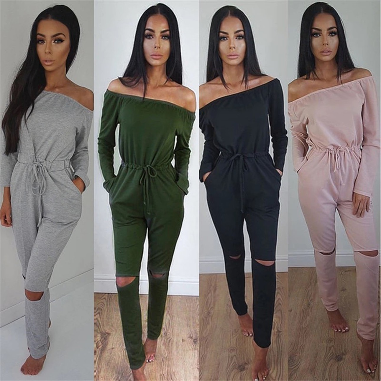 816977b2845f Jumpsuits For Women Sexy 2018 Summer New Arrival High Street Style Elegant  Long Sleeve Slash-Neck Off Shoulder Jumpsuit Rompers