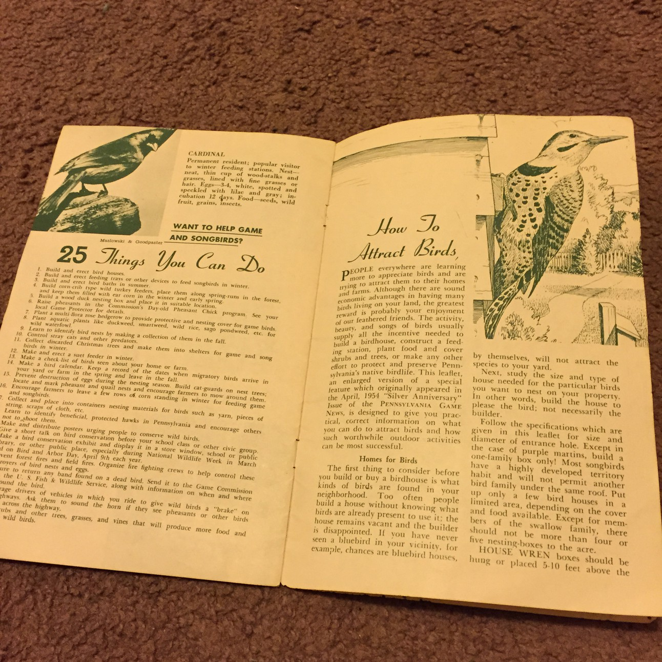 25 Well Known Pennsylvania Birds - 1954 PA Game Commission