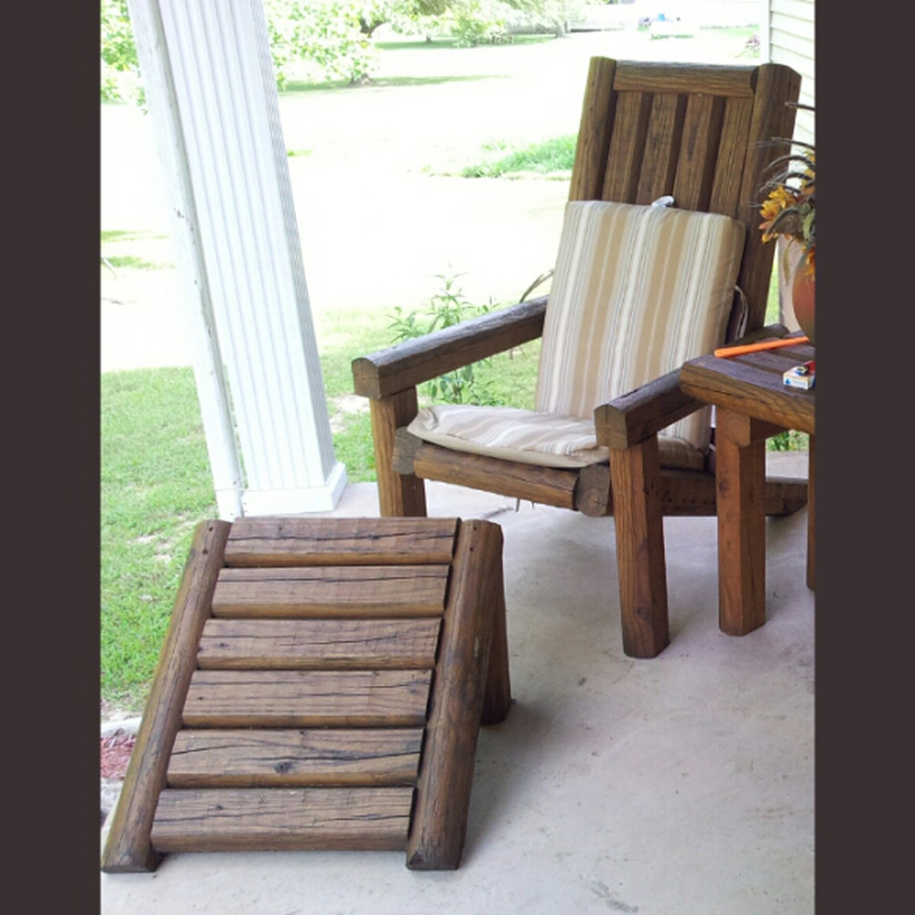 Rustic Landscape Timber Adirondack Chair And Footstool