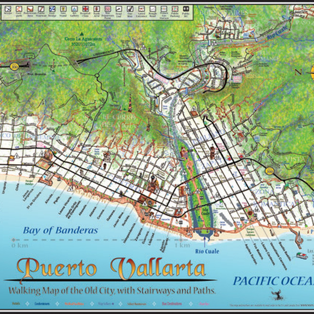 Puerto Vallarta World Map.Puerto Vallarta Walking Map