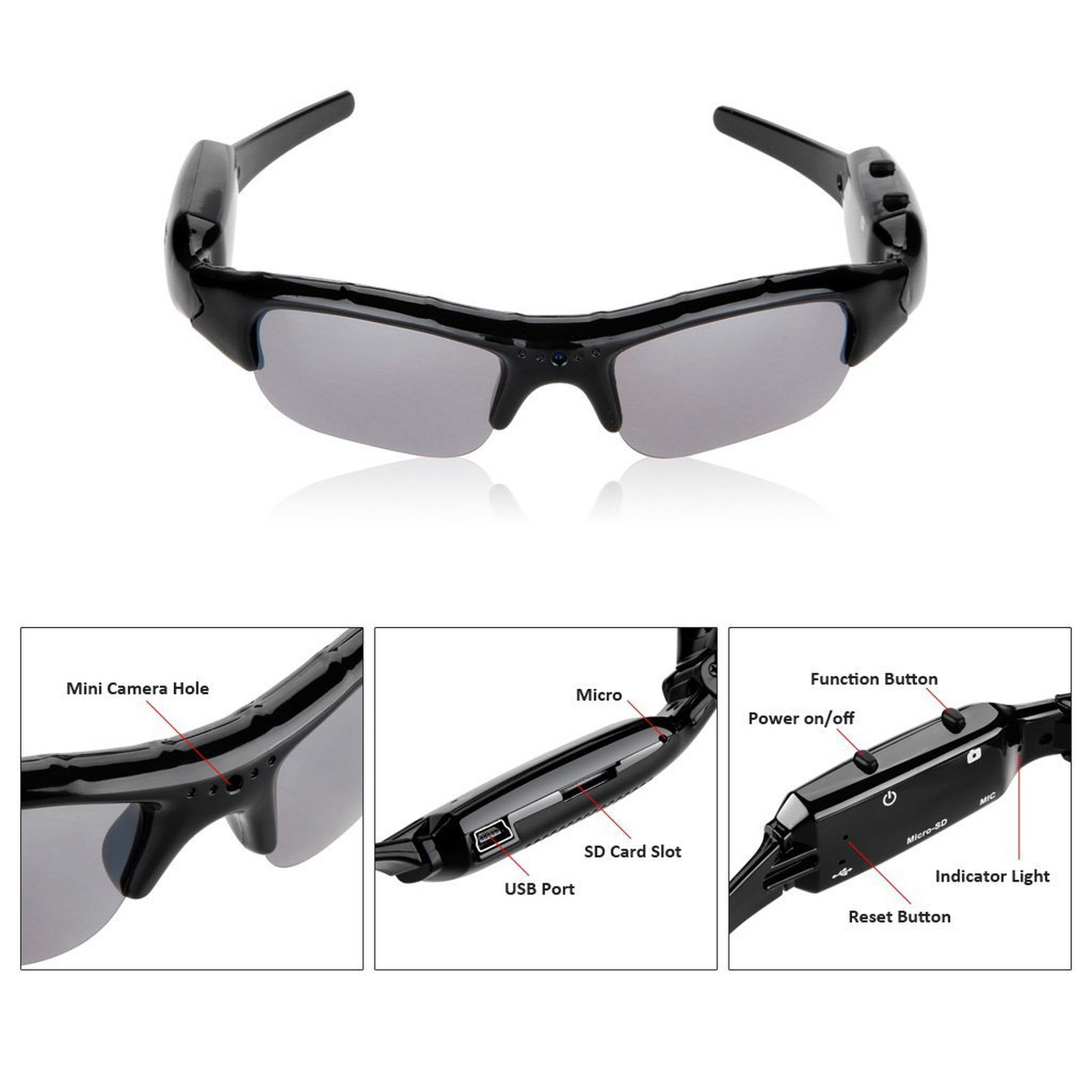 3bed781a57 Excelvan® ABS plastic Spy Camera Sunglasses