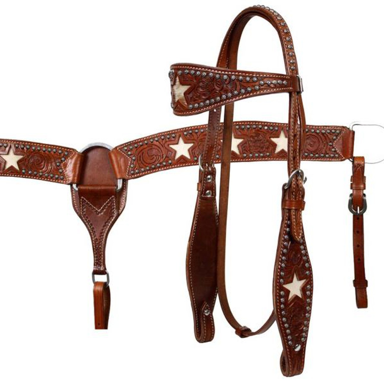 Western Leather Set Tack Headstall and Breast Collar Purple Inlay Full Size