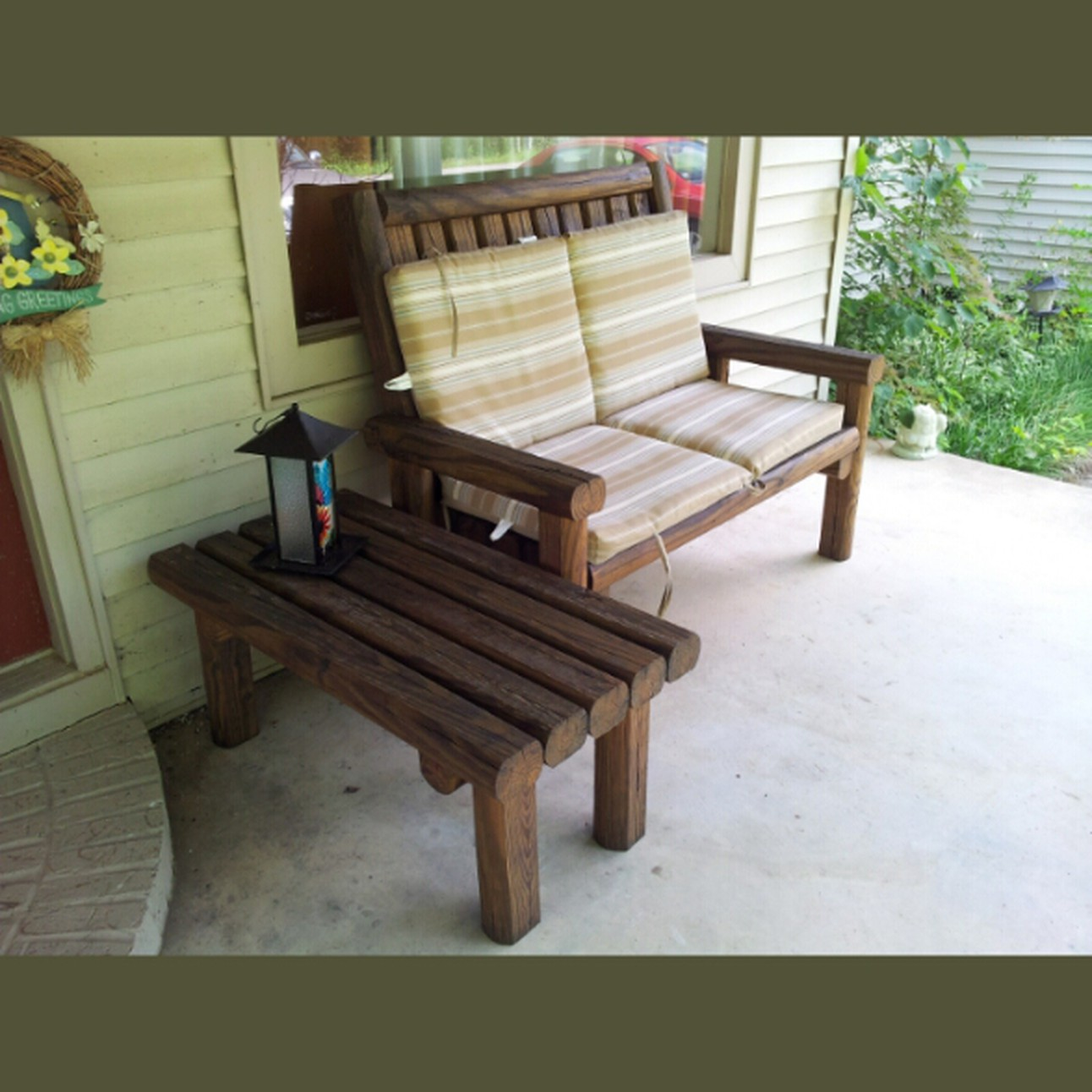 Pleasant Rustic Landscape Timber Loveseat And Coffee Table Evergreenethics Interior Chair Design Evergreenethicsorg