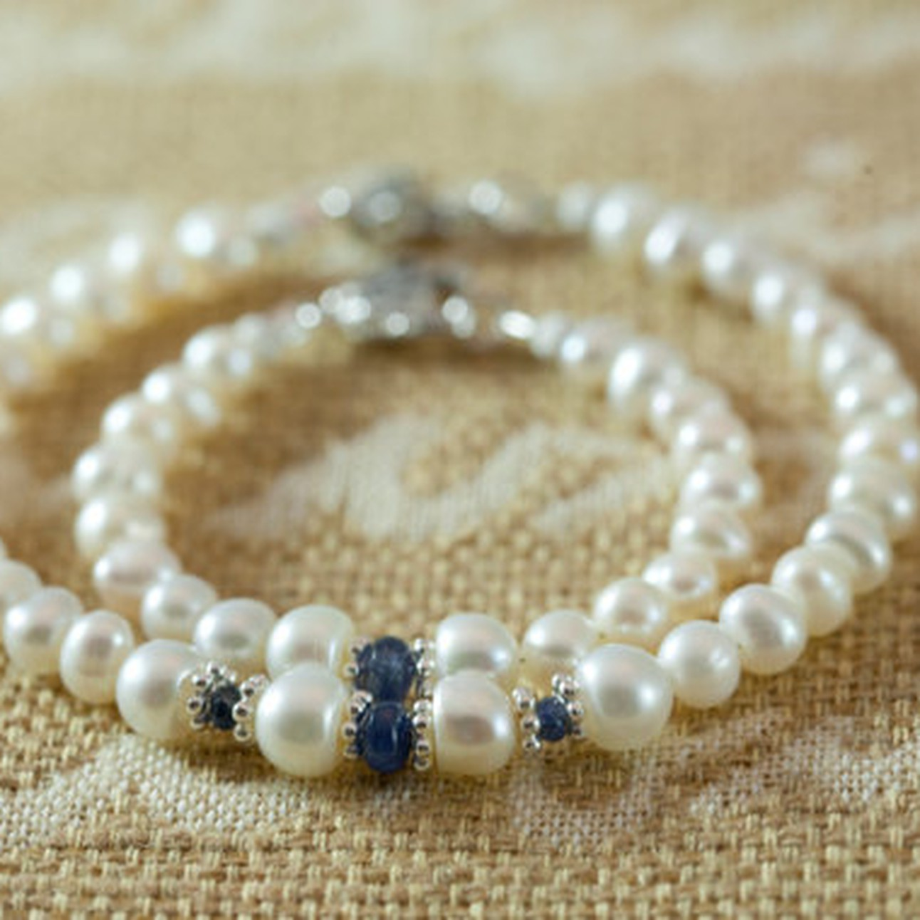 d12a178e2 Personalized Natural Genuine Sapphire and Pearl Bracelet set, Handmade Baby  Shower Gift, September Birthstone