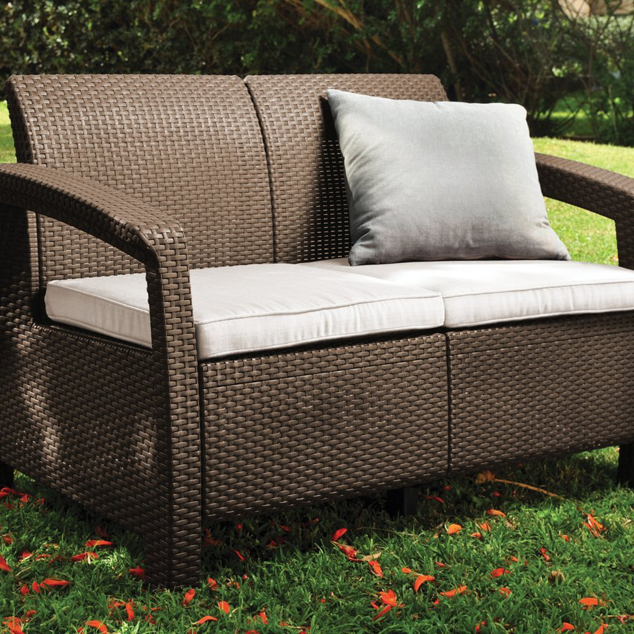 Keter Rattan Style 3 Drawer Cart.Keter Corfu Love Seat All Weather Outdoor Patio Garden Furniture W