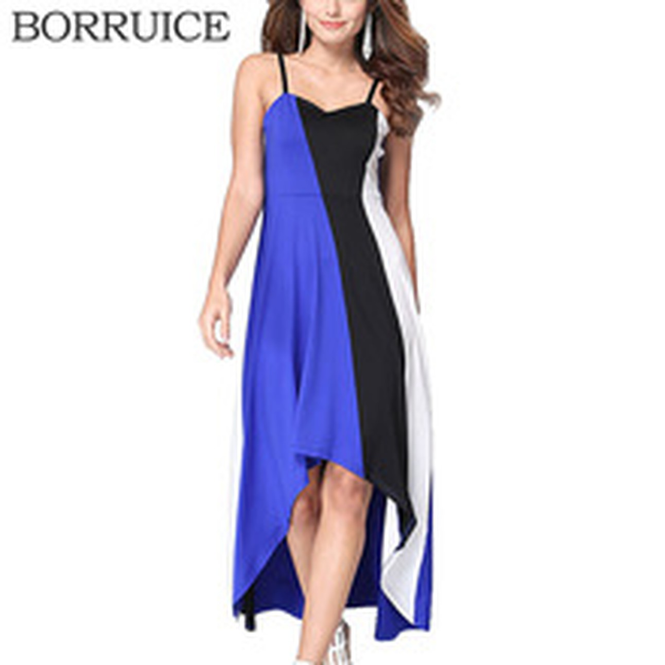 eb65c78366 BORRUICE Beach Long Dress Plus Size Spring Summer Women Dress Splice Stripe  Sexy Dresses Casual Vintage Irregular Maxi Dress