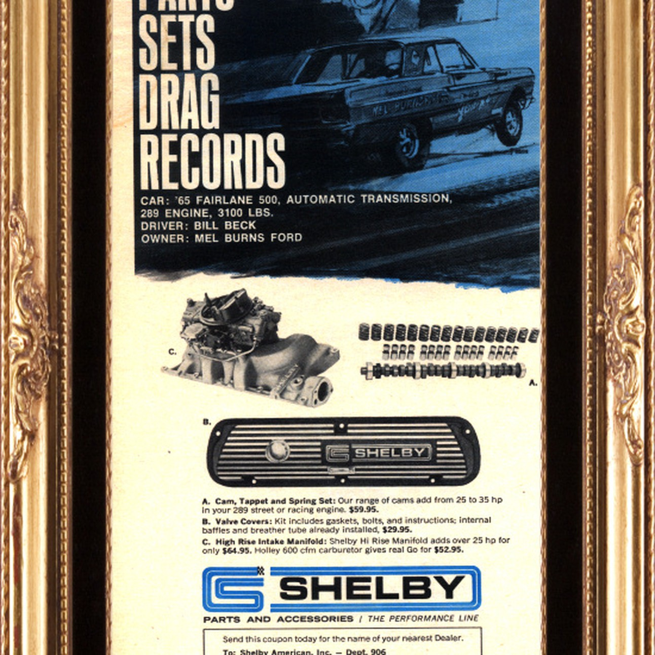 1967 Ford Shelby Cobra Parts Fairlane BIll Beck Mel Burns Vintage Ad