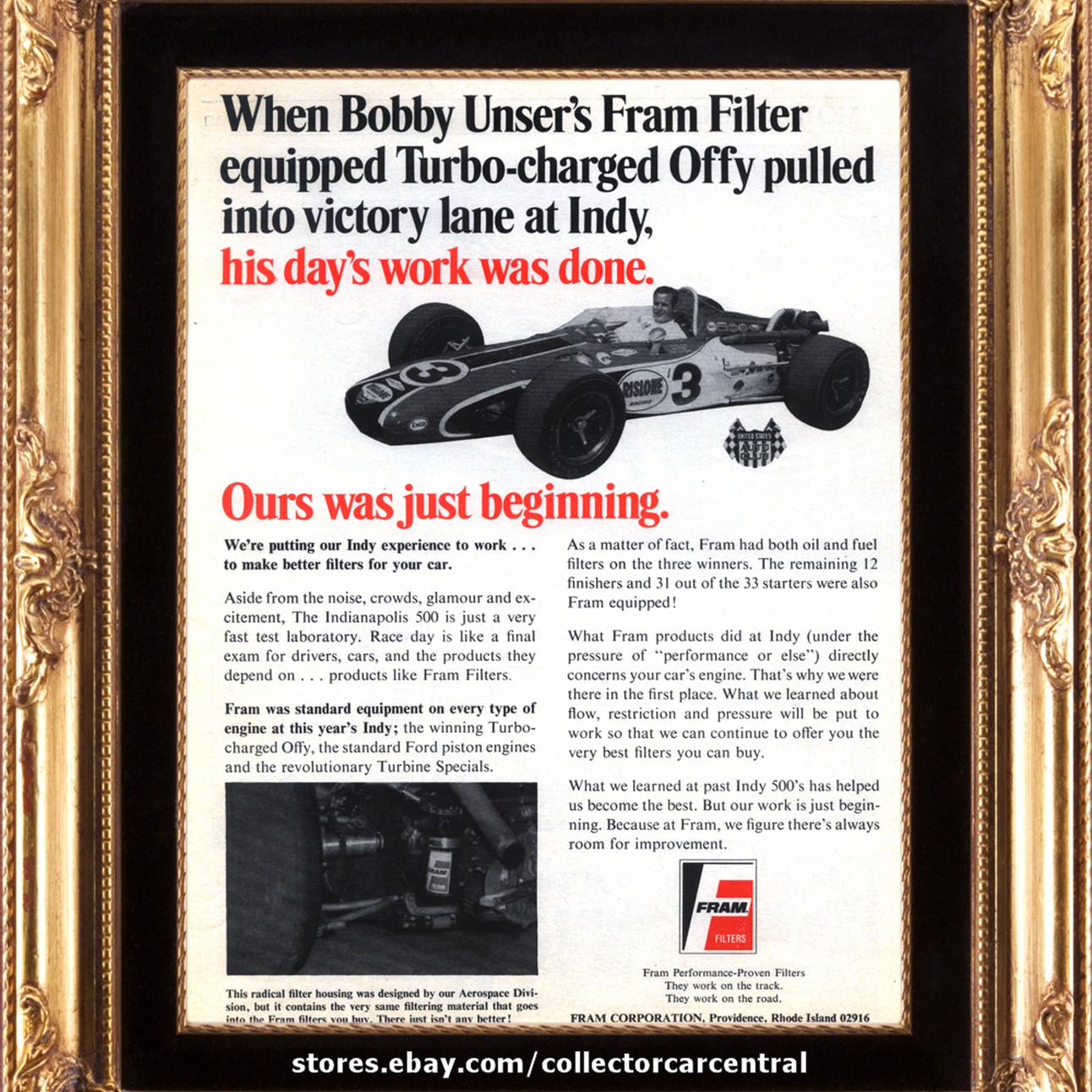 1968 Fram Filters Bobby Unser Turbo Offy Indy 500 Winner Vintage Ad Performance Fuel Filter