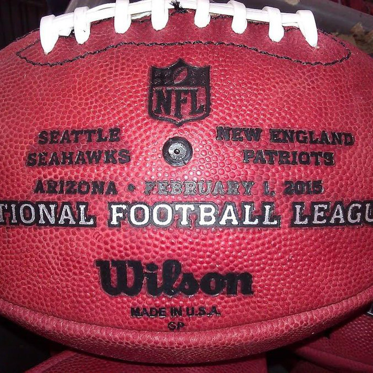 Super Bowl 49 XLIX Wilson Official NFL Authentic Game Football New England  Patriots vs Seattle Seahawks be3e68861