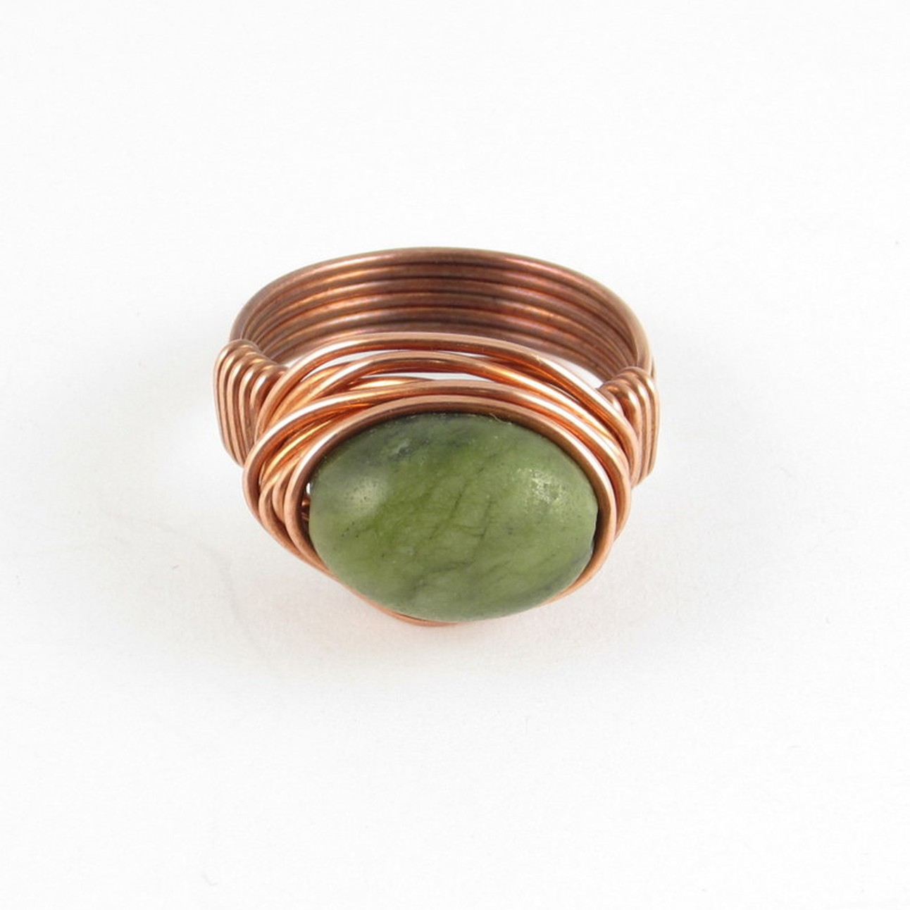 Handmade Sterling Silver Wire Wrap Tiger Eye Agate Cabochon Ring