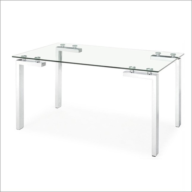Modern Clear Glass Executive Desk With Stainless Steel Legs
