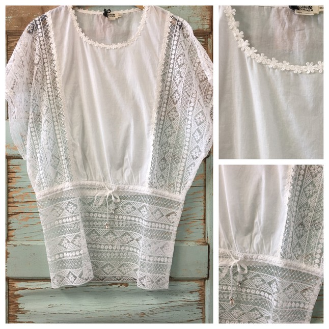a10a7906947 Molly Bracken Off White Cotton Crochet Lace Tunic Top