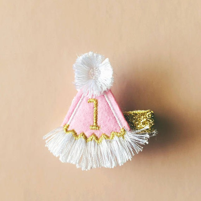 Turning One Birthday Party Hat Baby Girl Hair Clip