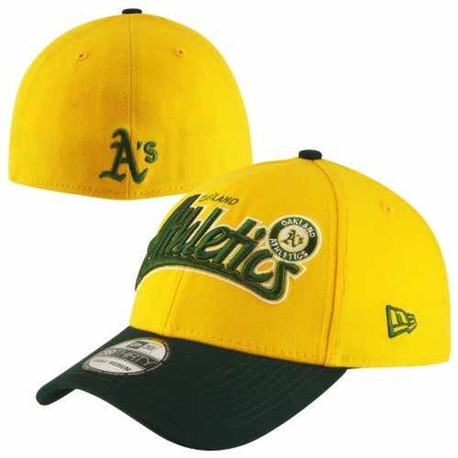 new product 02a22 a9430 New Era Oakland Athletics Two-Toned Tailswoop Classic 39THIRTY Flex Hat -  Gold Green