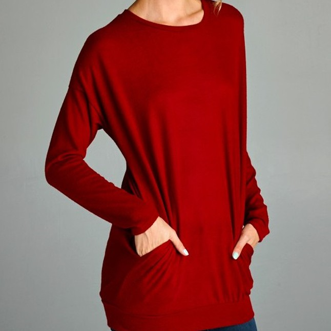 The Audrey * Red Tunic Sweater